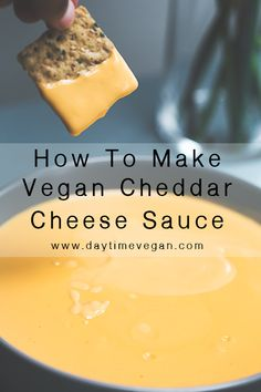 I have two recipes for the tastiest homemade vegan cheese sauce and vegan garlic. - I have two recipes for the tastiest homemade vegan cheese sauce and vegan garlic herb cream cheese! Best Vegan Cheese, Vegan Cheddar Cheese, Vegan Cheese Recipes, Vegan Lunch Recipes, Vegan Sauces, Vegan Foods, Vegan Dishes, Dairy Free Recipes, Dairy Free Nacho Cheese