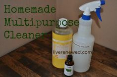 An easy recipe for a non-toxic and effective homemade multipurpose cleaner that you can use all around your house. Homemade Cleaning Supplies, Cleaning Recipes, Cleaning Hacks, Homemade Products, Soap Recipes, Natural Cleaning Solutions, Natural Cleaning Products, Diy Cleaners, Cleaners Homemade