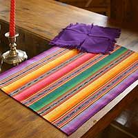 'Violet Fantasy' striped cotton #placemats and #napkins from Guatemala