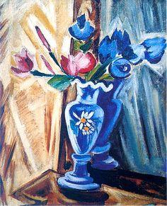 Ольга Розанова «Голубая ваза с цветами (Букет)». 1912-1913 г. Холст, масло. 66 х 52,5 см  Витебский Музей современного искусства, Белоруссия
