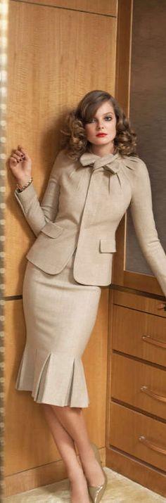 Eniko Mihalik by Max Farago for Bergdorf Goodman Pre-Fall 2011 Suit Fashion, Look Fashion, Fashion Outfits, Womens Fashion, Fashion Beauty, Suits For Women, Clothes For Women, Business Outfit, Business Chic
