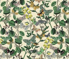 Springtime In The Butterflies' Garden   ~ by PeacoquetteDesigns on Spoonflower ~ bespoke fabric, wallpaper, wall decals & gift wrap ~ Join PD  ~ https://www.facebook.com/PeacoquetteDesigns #Spoonflower #Peacoquette