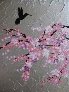 BIRD AND CHERRY BLOSSOM textured acrylic on canvas by Cathy Jacobs - $180 available to buy at bluethumb.com.au/cathyjacobs #decorative #art