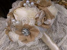 Southern Blue Celebrations: Burlap & Lace Bouquets / Flowers Ideas for…