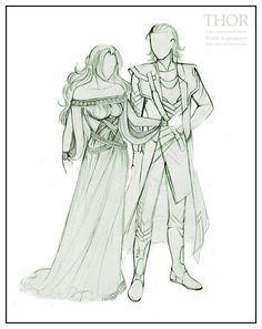Loki and Sigyn Sigyn Marvel, Loki And Sigyn, Thor X Loki, Loki Laufeyson, Loki Drawing, Drawing Base, Anime Drawings Sketches, Cartoon Drawings, Marvel Characters