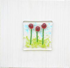 "Spira design - Board with glassdecoration ""Red poppy"""