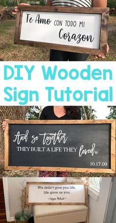 diy projects For The Home picture frames - DIY Framed Wooden Sign Tutorial - Poofy Cheeks Diy Wood Signs, Pallet Signs, Painted Wooden Signs, Rustic Wood Signs, Wooden Decor, Cadre Photo Diy, Palette Diy, Diy Pallet Projects, Pallet Ideas