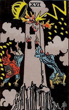 The Tower Major Arcana Tarot card. The Tarot Tower card meaning in a nutshell: A spectacular ambition that ends with disaster. Major Arcana Cards, Tarot Major Arcana, Tarot Astrologico, Star Tarot, The Tower Tarot Card, Tarot Rider Waite, Tarot Waite, Tarot Significado, Free Tarot
