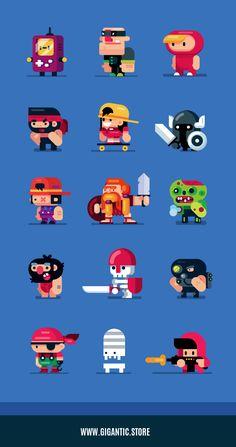 Game Design Characters, Flat Design Illustrations