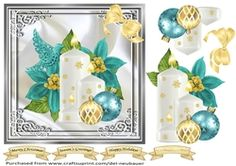 - A quick card featuring a cluster of candles with Teal poinsettias & decorations. Sheet includes decoupage layers and senti. Teal Candles, Cup Design, Quick Cards, Poinsettia, Decoupage, Card Making, Christmas, Home Decor, Candles