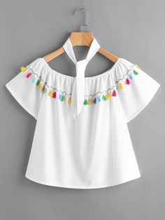 Shop Boat Neckline Fringe Trim Top With Neck Tie online. SheIn offers Boat Neckline Fringe Trim Top With Neck Tie & more to fit your fashionable needs. Girls Fashion Clothes, Teen Fashion Outfits, Kids Fashion, Fashion Dresses, Cute Casual Outfits, Stylish Dresses, Latest Fashion For Women, Blouse Designs, Skirt