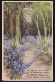 Beautiful Vintage Birthday Greeting Postcard with Forest Scene & Flowers-bbb194