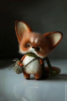 Купить Лисёнок с большими ушами и грибной корзиночкой. Игрушка из войлока. - рыжий, лисёнок, лиса, лис