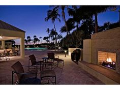 Outdoor Living - Park Shore - Naples, Florida - fireplace - sunset