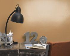 Réchauffez le métal avec de l'orange. Pour un espace de travail à l'esthétique industrielle chic, prenez un bureau vintage et sobre en métal poli et peignez les murs en orange brûlé.