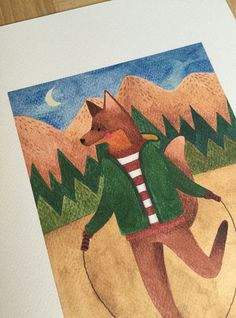 This is a fox watercolor print of my painting with this cute animal jumping rope in the forest, it can be used art art for kids room or a