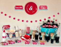 Retro Diner Party - Set up on extra table as milkshake table with flavors and chocolate syrup and cherries 1950s Party, Retro Party, Fifties Party, Birthday Party Desserts, 50th Birthday Party, Birthday Decorations, Retro Birthday, Halloween Decorations, 50s Theme Parties