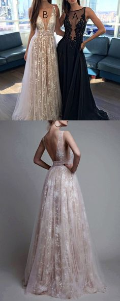 gorgeous prom dress 2018, long prom dress, white lace prom dress, deep v neck long prom dress