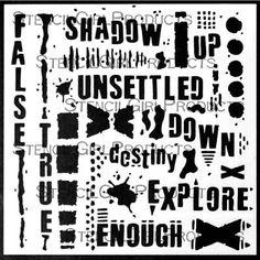 Text and Texture Explore Stencil by Seth Apter for StencilGirl $7.00 Schablonen, Mischtechnik-kunstwerk