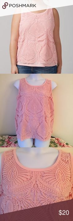 Lane Bryant Lace Tank size 22/24 Lane Bryant pink tank.  The crochet lace overlay's scalloped hem adds the finishing touch to this tank. Scoop neck. Size 22/24 Lane Bryant Tops Tank Tops