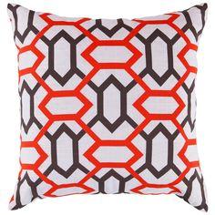 """Surya Perry Orange-Red/Wine Pillow @Zinc_Door 18"""""""