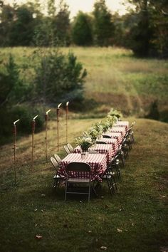Simple, rustic outdoor party
