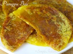Paruppu Boli (Paruppu Poli): A flat sweet bread stuffed with a sweet lentil and jaggery filling. Boli is traditionally made in Tamilnadu and Kerala during many festivals. Easy Indian Recipes, Ethnic Recipes, Dough Balls, Savory Snacks, Sweet Bread, Lentils, Kerala, Flat, Dinner