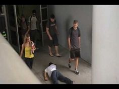 ▶ The Bystander Effect - experiment - YouTube (high school age students walk past a student who is laying in the floor, never stop to check on him.)