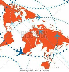 World Map Airplane Flight Travel Plans Connections -idea for wall art in boy's room