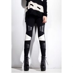 89ac2f1f131d3 Cheap Wholesale Special Color Matching PU Leather Splicing Skinny Women s  Leggings (BLACK