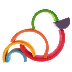 Grimm's Mini Rainbow (6 Pieces) Beautiful Rainbow Duck Building Blocks Toys is Fun for kids.  ❤