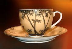 Antique Japan Satsuma Japanese 5 Tea Cups Saucers Tea Set Bamboo Gold Nippon