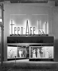 Teen-Age Hall Clothing Store Tampa, Florida, 1947 by Store Windows, Shop Fronts, Shop Front Design, Expo, Thing 1, Vintage Photos, Vintage Outfits, Vintage Fashion, In This Moment