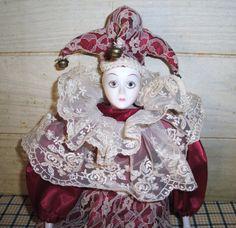 jester porcelian dolls | Vintage Zam Harlequin Jester Show Stopper Porcelain Doll & Pillow ...