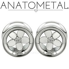 00ga Plumeria Eyelets in ASTM F-138 stainless steel with silver Plumeria Inserts: CZ gemstones