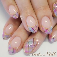 French manicure with pastel plaid