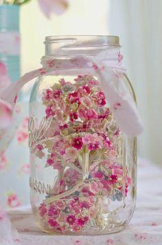 Little Flowers, Pretty In Pink, Beautiful Flowers, Pink Flowers, Fabric Flowers, Pink Roses, Bottles And Jars, Glass Jars, Mason Jar Crafts
