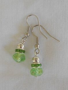 Handmade Earrings Green Faceted Crystal Beads and Green Rhinestone Spacer Beads #Handmade #DropDangle  2014 Sold