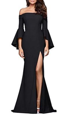 abf89eb7e3 Blansdi Women Evening Bodycon Off Shoulder High Split Flare Sleeve Mermaid Maxi  Dress Gown (L