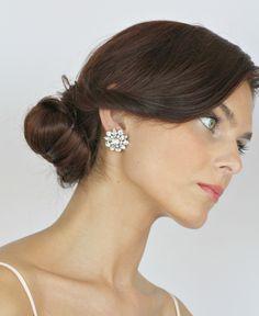 Bridal stud earrings, Wedding crystal earrings. Vintage wedding bridal  rhinestone earrings - Style 465. $36.00, via Etsy.