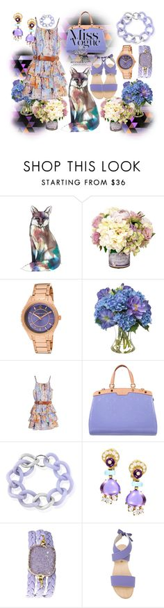 """""""Miss Vogue - Watch Out, She's A Little Fox!!!"""" by sharee64 ❤ liked on Polyvore featuring Kenneth Jay Lane, Diane James, GUESS by Marciano, Louis Vuitton, Maiko Nagayama, Bulgari, Alexandra Beth Designs and Humanoid"""