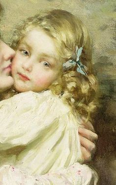 "Thomas Benjamin Kennington, ""Mother and Daughter"", detail.  Such an otherworldly face.  (I almost said cherubic.  ""They paint the angels fair"" . . .)"