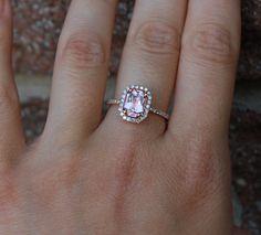 1.37ct emerald cut Peach sapphire Champagne sapphire ring diamond ring 14k rose gold