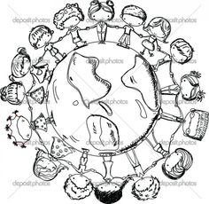 Happy Smiling Multicultural Kids Around The World Clipart