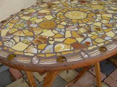 Brown and Yellow mosaic table