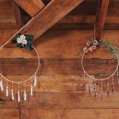diy simple boho wedding floral hoops