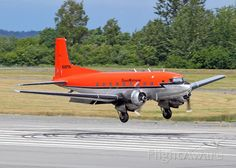 TransNorthern Aviation Cargo Super DC-3 landing Anchorage, Alaska - modified tail.