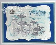 Stampin' Up! Card - shaving cream background technique with embossed flowers