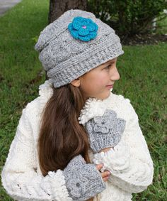 This Gray & Turquoise Flower Gloria Cable-Knit Wool Beanie by Little Cotton Dress is perfect! #zulilyfinds