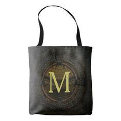 Cool Initialed Steampunk Dark Porthole Monogram Tote Bag - monogram gifts unique custom diy personalize